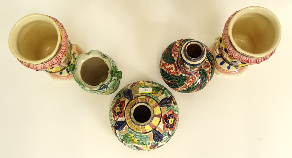 Lot of Five (5) Vintage Italian Majolica Urns and Vases. Various sizes.