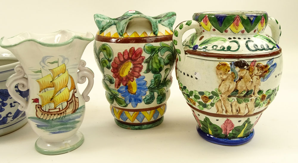 Lot of Five (5) Vintage Italian Majolica Urns and Vases.