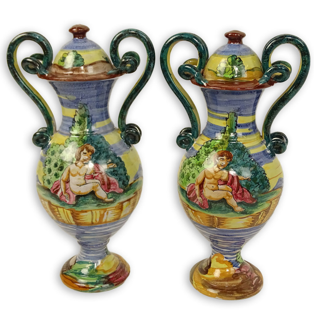 Pair Of Vintage Hand Painted Majolica Snake Handle Urns.