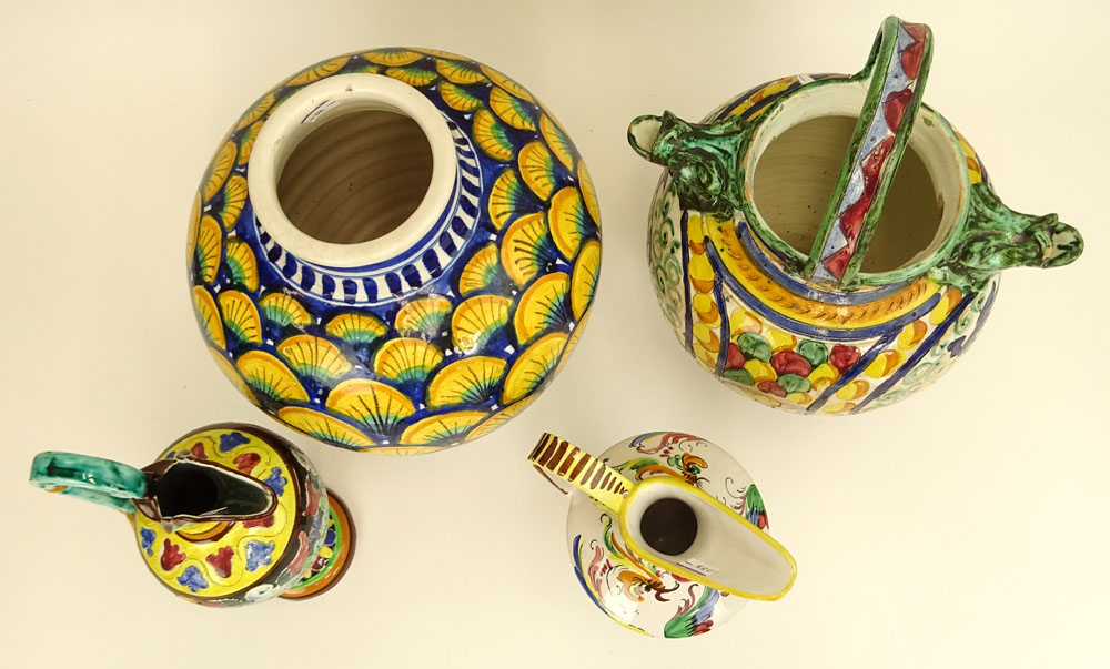 Nice Collection of Four (4) Majolica Urns and Pitchers. Various designs.