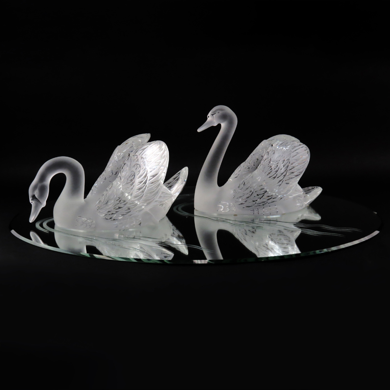 Pair Lalique Crystal Swans On Mirrored Base Kodner Auctions