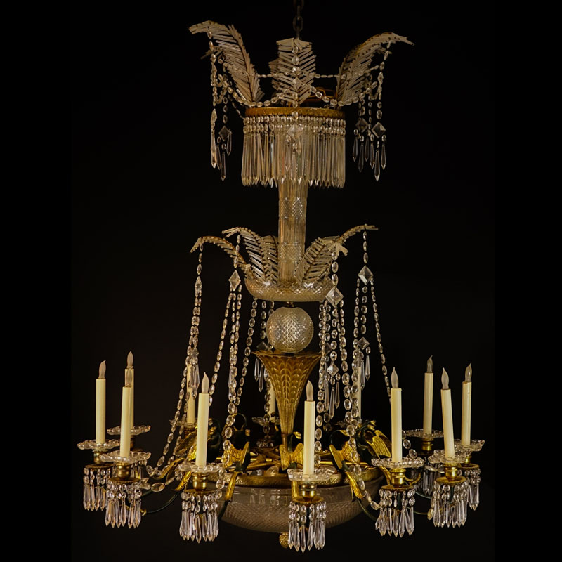 Large Antique French Empire style, Possibly Baccarat 12 Arm Bronze and  Crystal 3 Tiered Chandelier ... - Large Antique French Empire Style, Possibly Baccarat 12 Arm Bronze
