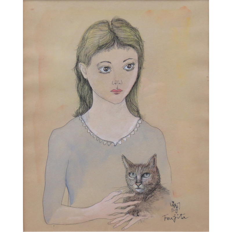 Leonard Foujita Girl With Cat