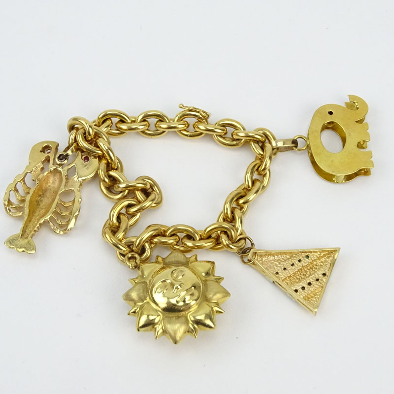 Vintage Italian 18 Karat Yellow Gold Charm Bracelet With One 1