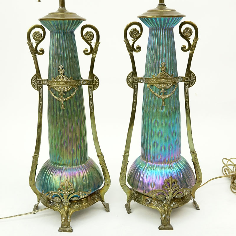 An Impressive Pair Of Kralik Sea Urchin Art Nouveau Bohemian Art Glass Lamps