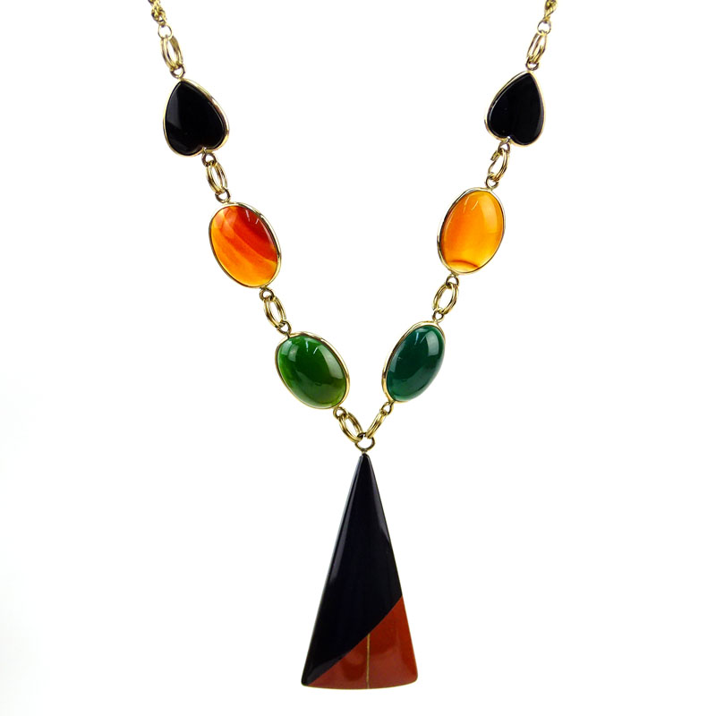 14 Karat Gold and Hardstone Necklace