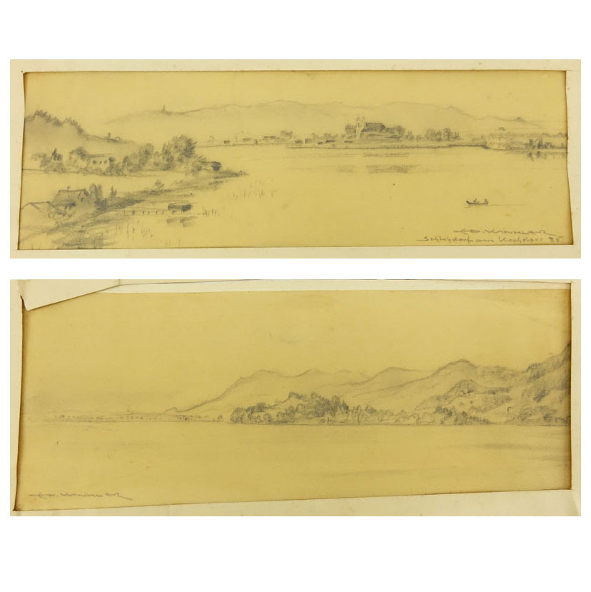 "Eduard Winkler, German (1884-1978) Two (2) pencil drawings ""Landscapes"""