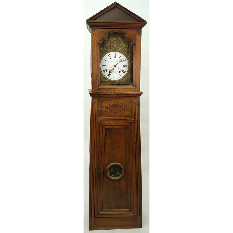 19th Century French Comtoise Morbier Wall Clock Housed in Directoire style Walnut Case