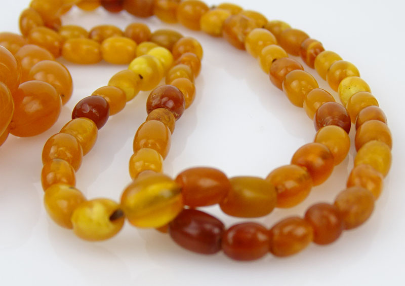 Two (2) Vintage Butterscotch Amber Beaded Necklaces