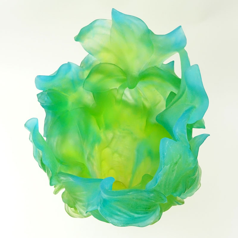 Daum Pate de Verre Green and Blue Amaryllis Vase
