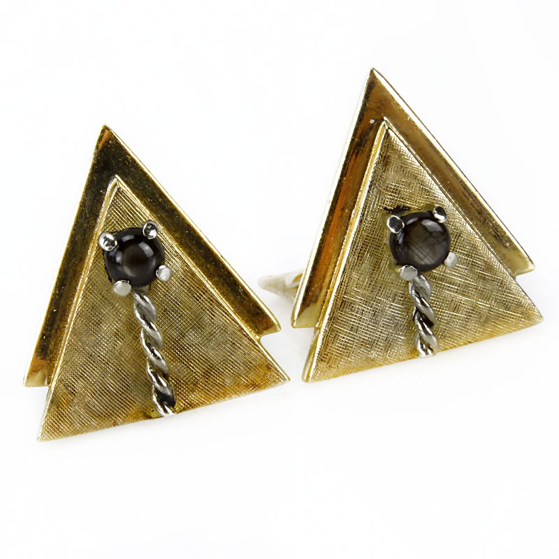 Mens vintage 14 karat yellow gold and black star sapphire mens vintage 14 karat yellow gold and black star sapphire cufflinks kodner auctions sciox Image collections