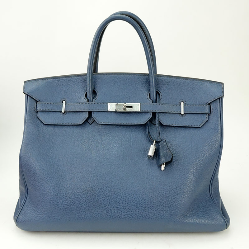 Hermès Bleu Nuit Clemence Leather Birkin Bag 40 With Palladium Hardware