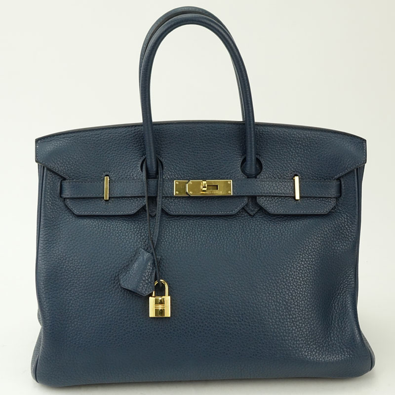 Hermès Navy Togo Leather Birkin Bag 35 With Gold-Tone Hardware