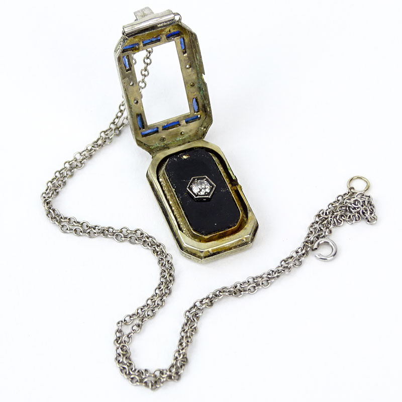 Assembled Art Deco Diamond, Sapphire, Black Onyx and 18 Karat White Gold Pendant (was once a watch) on 14 Karat White Gold Chain