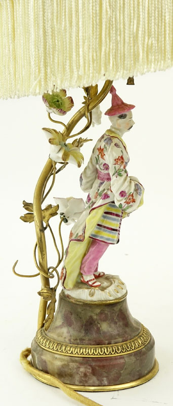 Antique Meissen Style Porcelain Figural lamp on Marble Base