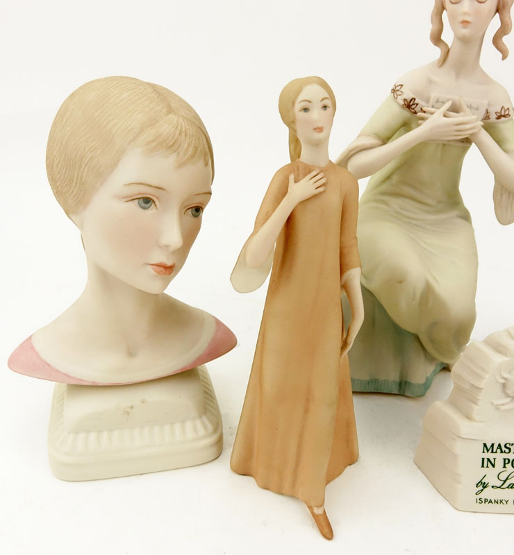 Group of Four (4) Laszlo Ispanky Porcelain Figurines and Advertising Sign