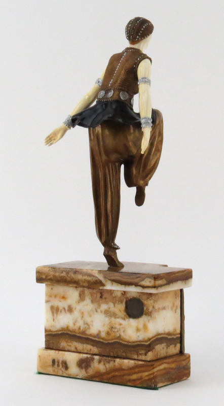 "After: Demetre Chiparus, Romanian (1886-1947) Modern Bronze and Ivory Figure On Marble Base  ""Dancer"" Signed on base, Etling foundry mark on back of base"