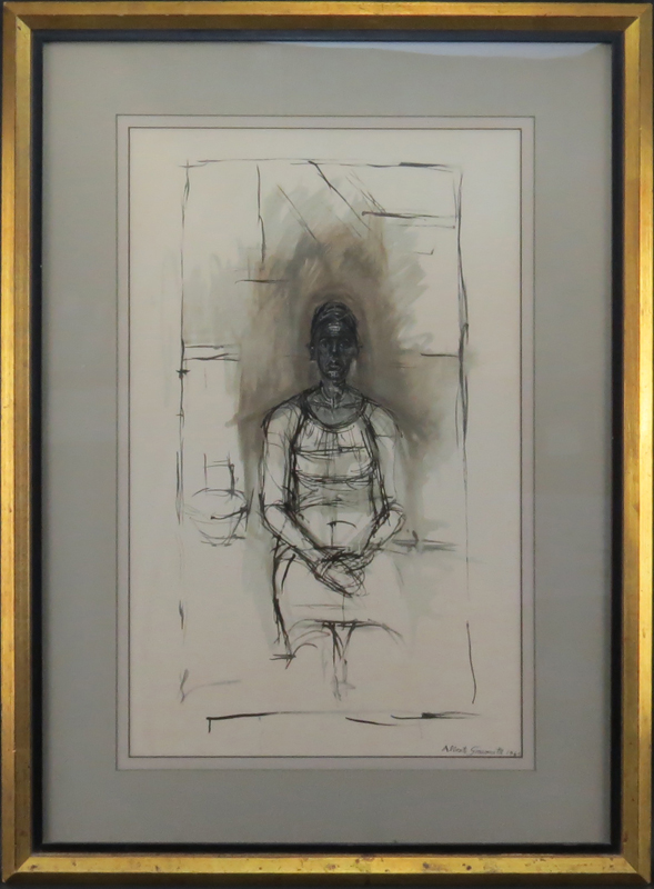 "Alberto Giacometti, Swiss (1901-1966) Lithograph ""Caroline"" Signed and dated 1965 in print"
