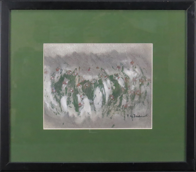 "Mid-Century Polish School Mixed Media On Paper ""Abstract Composition"" Bears signature lower right (illegible)"
