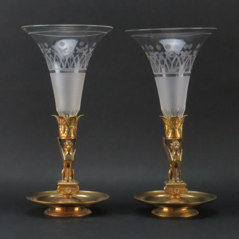 Pair Antique French Empire Ormolu and Etched Crystal Vases