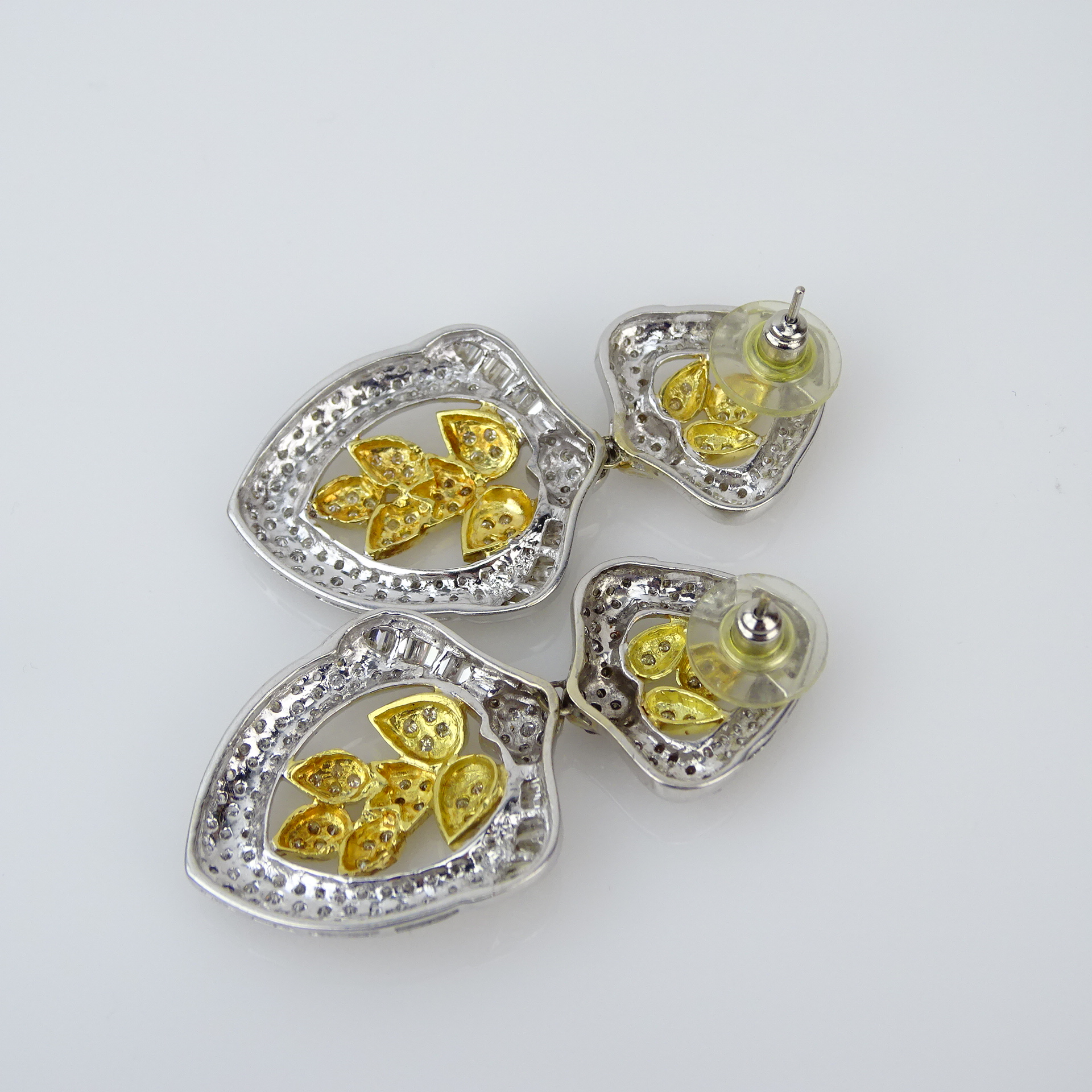 Pave Set Round Cut and Baguette Diamond and 18 Karat White and Yellow Gold Pendant Earrings