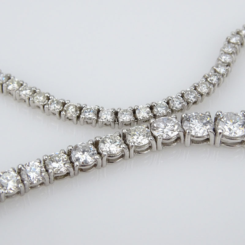 Approx. 18.50 Carat Round Brilliant Cut Diamond and 14 Karat White Gold Riviera Necklace.