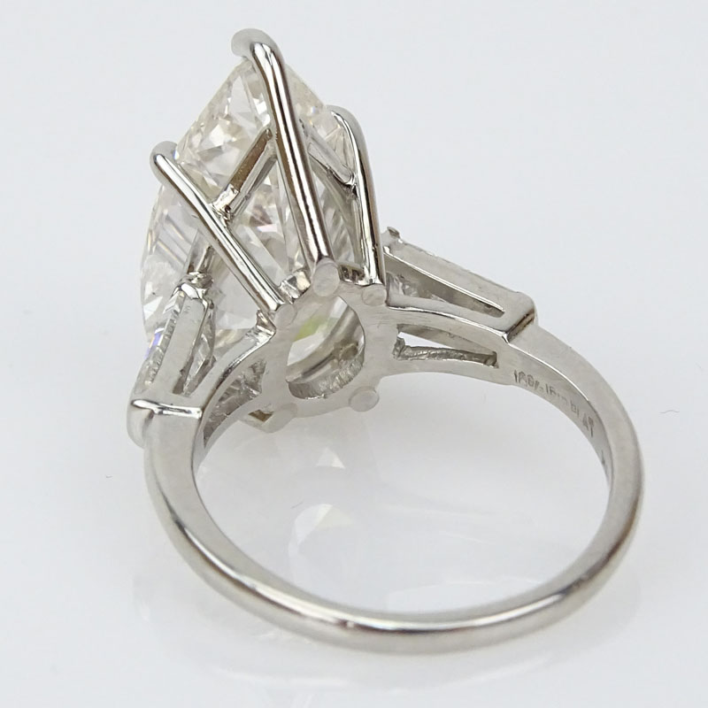 Approx. 8.45 Carat Pear Shape Diamond and Platinum Engagement Ring.