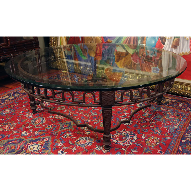 Neoclassical Style Cast Iron Coffee Table With Beveled Glass Top. Rubbing  To Iron.