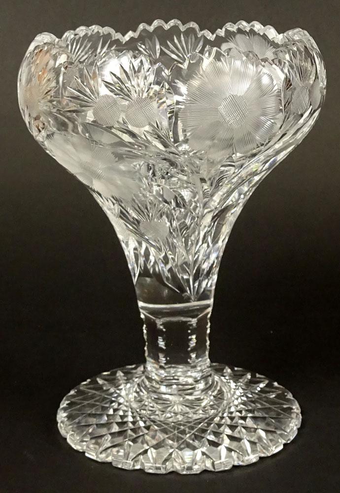 Antique American Brilliant Cut Glass Vasepedestal Bowl Kodner