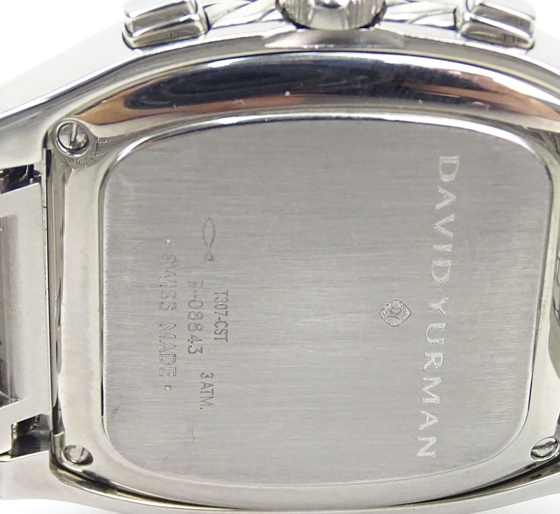 vintage david yurman stainless steel and sterling silver chronograph bracelet watch with mother of pearl dial