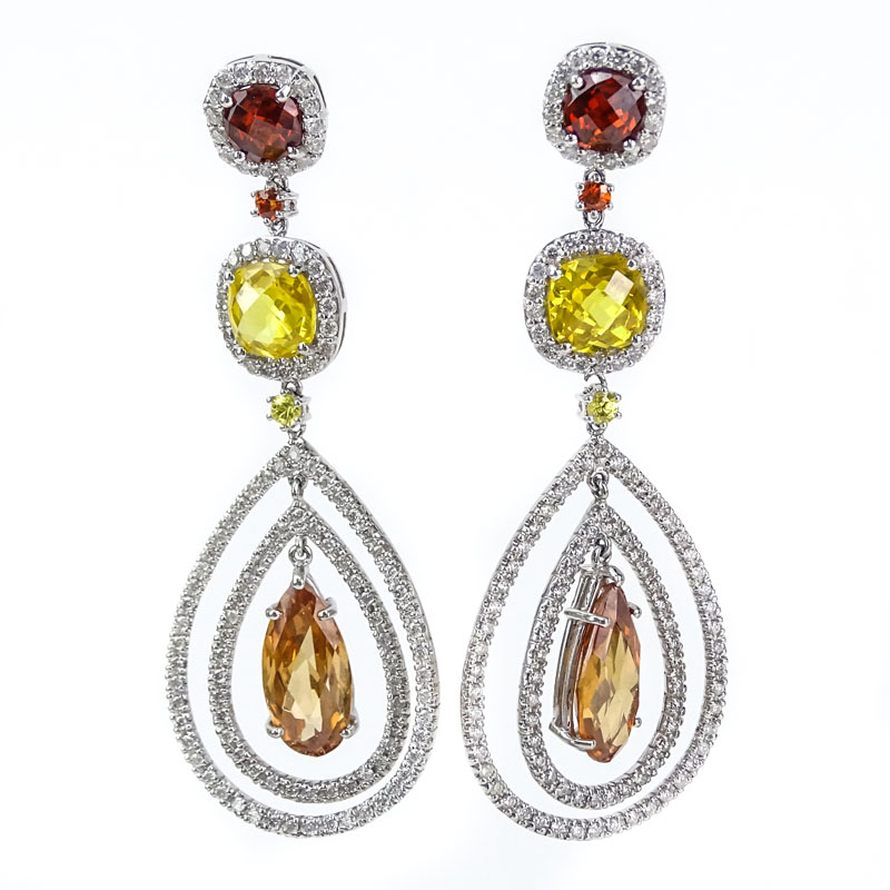 Approx 3703 carat multi color citrine 313 carat diamond and 14 3703 carat multi color citrine 313 carat diamond and 14 karat white gold mozeypictures Gallery
