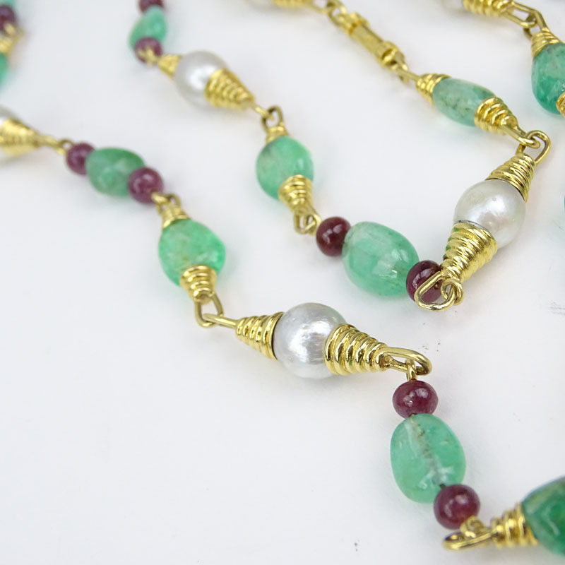 Vintage David Webb Approx. 145.0 Carat Emerald, 35.0 Carat Ruby, Twelve (12) South Sea Baroque Pearl and 18 Karat Yellow Gold Beaded Necklace.