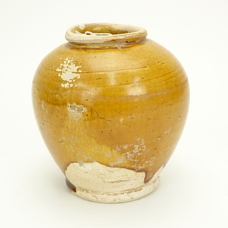 Chinese Tang Dynasty Lemon Yellow Glazed Round Vase Kodner Auctions