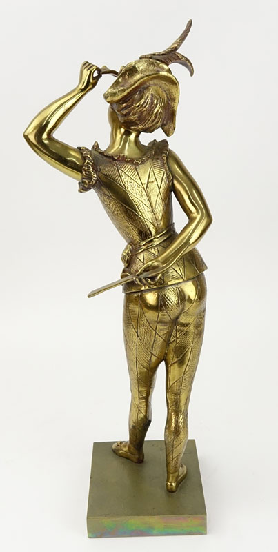 "Antique Gilt Bronze Figure ""Woman With Mask""."