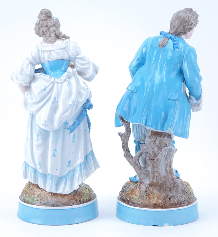 Pair of German Porcelain  Male and Female Figurines