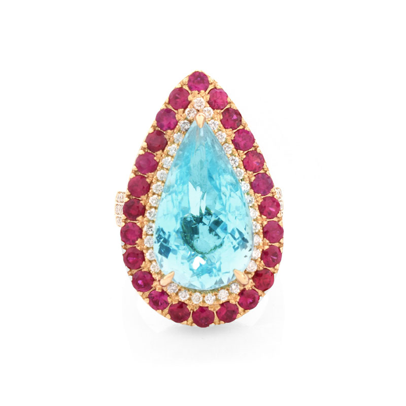 GIA Certified 11.70 Carat Pear Shape Paraiba Tourmaline, Diamond, Ruby and 18 Karat Yellow Gold Ring.