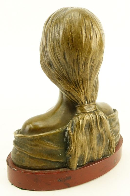 Emmanuel Villanis, French (1858 - 1914) Bronze Sculpture on Marble Base, Female Bust with Edelweiss.