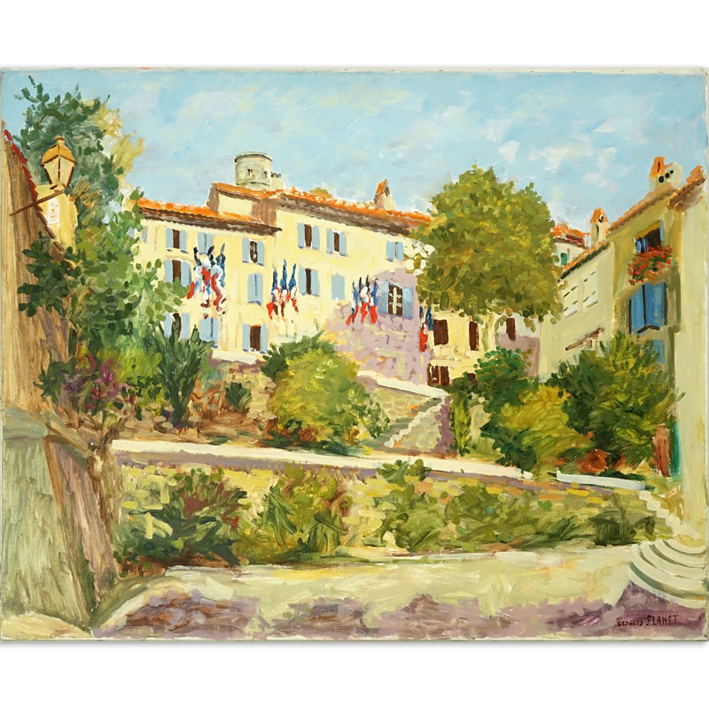 "Georges Flanet, France (born 1937) Oil on Canvas ""Grimaud La Mairie"" Signed Lower Right. Inscribed en verso."