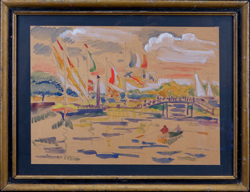 Attributed to: Paul Signac, French (1863 - 1935) Watercolor and pencil.