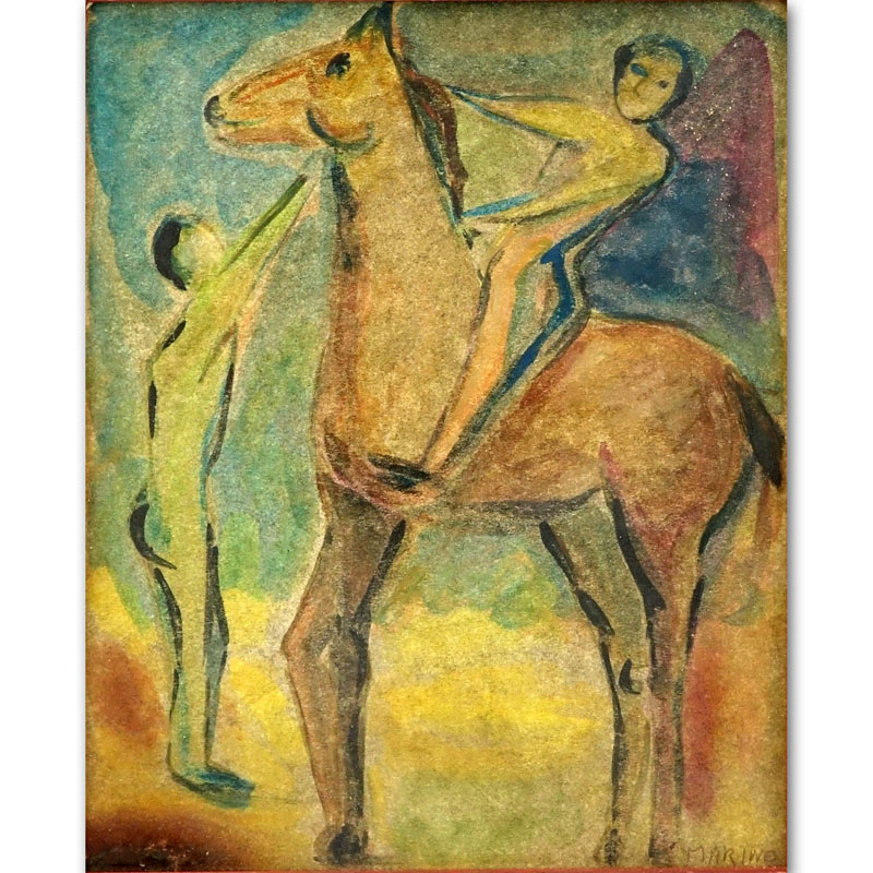 "Attributed to: Marino Marini, Italian (1901-1980) Watercolor on card ""Figures With Horse""."