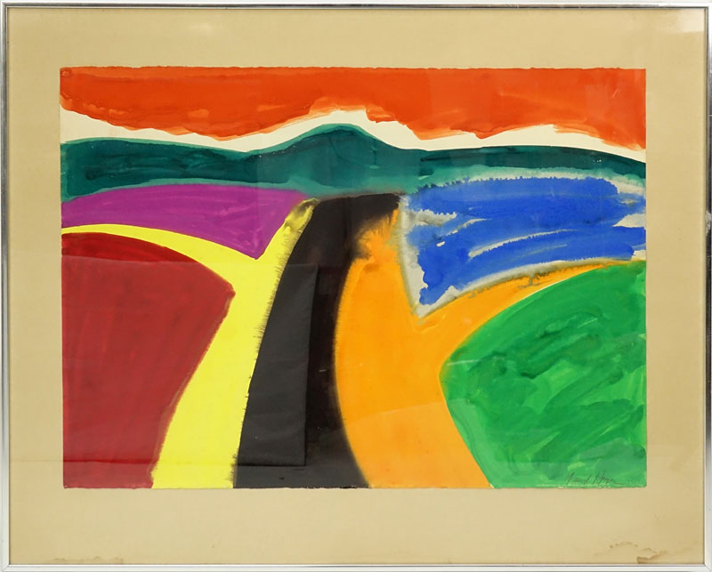 David Hayes, French/American (1931 - 2013) Watercolor on Paper, Abstract Landscape in Orange, Yellow, Green, Magenta, and Black, Signed Lower Right and Dated 1971.