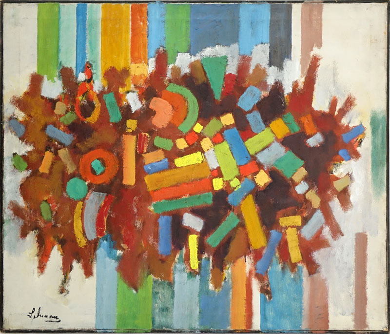 Irving Lehman, Russian/American (1900 - 1983) Oil on Canvas, Untitled: Abstract Composition in Color, Signed Lower Left. Good condition.