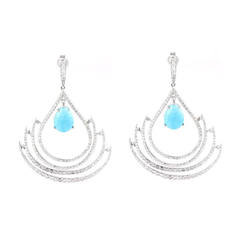 Approx. 6.43 Carat TW Pear Shape Cabochon Persian Turquoise, 3.90 Carat Round Brilliant Cut Diamond and 14 Karat White Gold Chandelier Earrings.