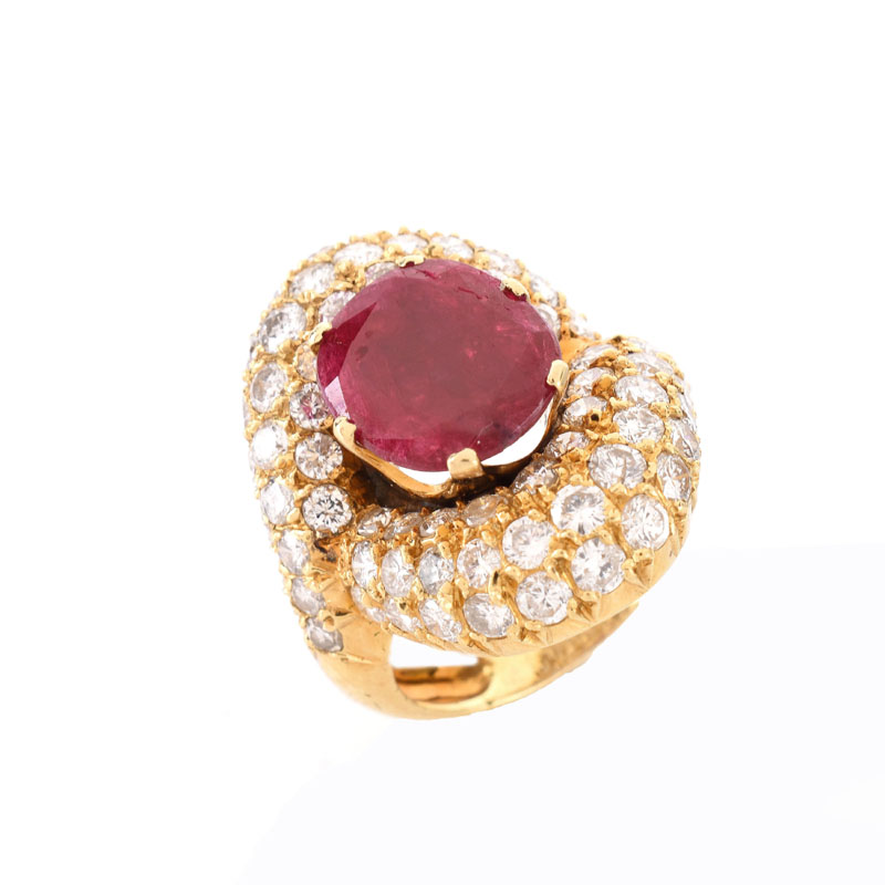 Vintage Approx. 4.0 Carat Pave Set Round Brilliant Cut Diamond, 4.50 Carat Oval Cut Ruby and 18 karat Yellow Gold Ring.