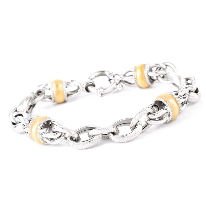 Italian 18 Karat White and Yellow Gold Bracelets. Can also be worn as one necklace. Stamped Italy 18K.