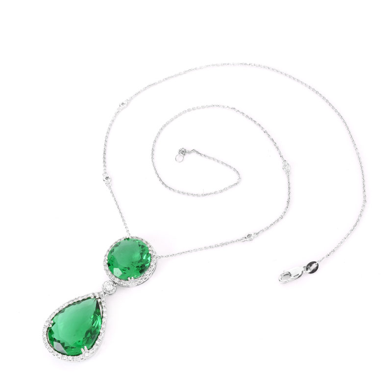 Approx. 18.0 Carat TW Pear Shape Green Quartz, 1.01 Carat Diamond and 14 Karat White Gold Pendant Necklace.