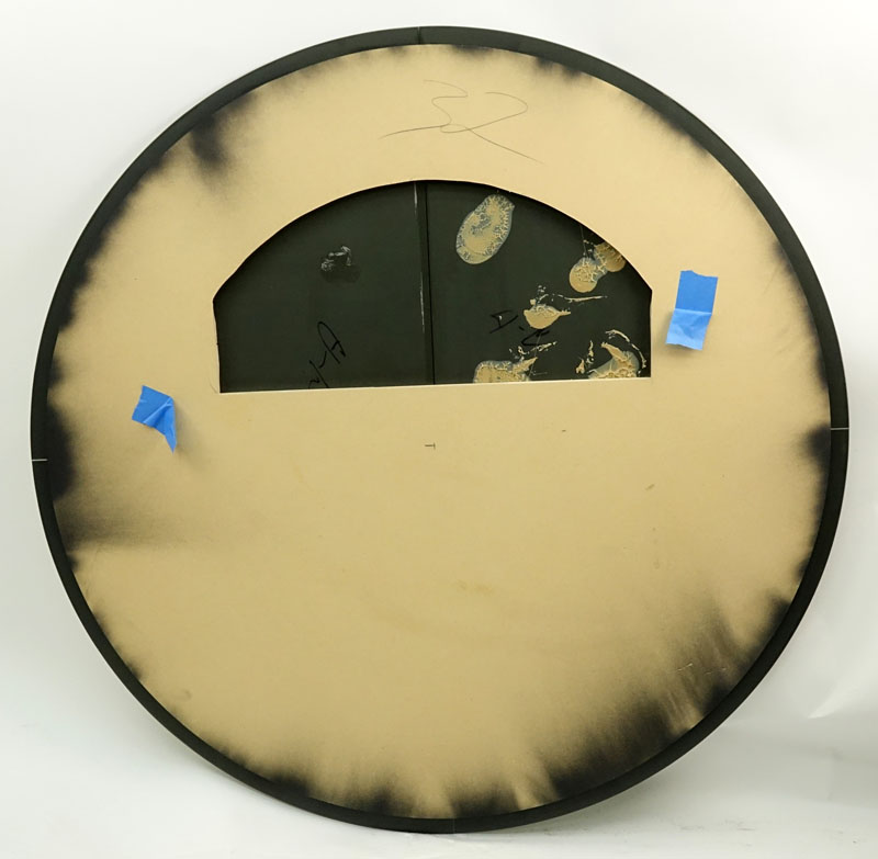 "Late 20th Century Karl Springer Style ""Saturn"" Beveled Mirror. Good condition. Measures 42"" Dia."