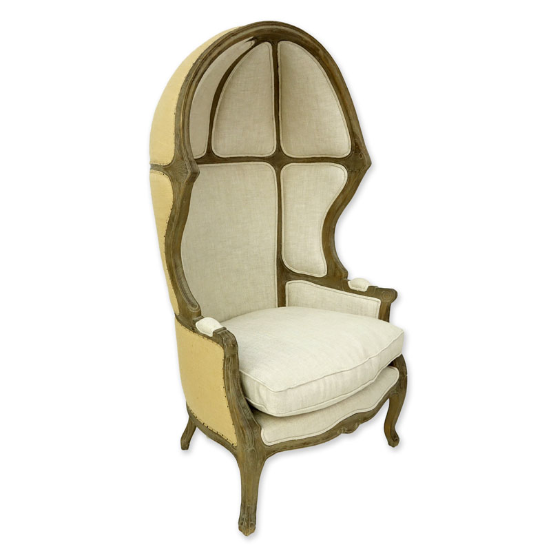 Louis XV Style Versailles Carved Oak, Burlap Backed and Belgian Linen Porter Chair by Restoration Hardware.