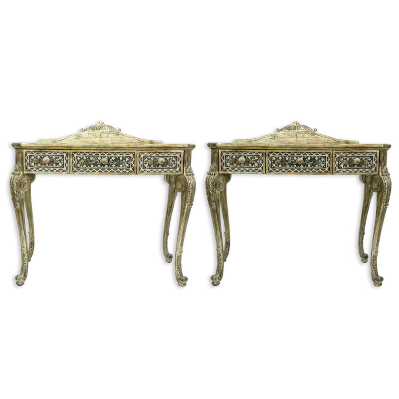 Pair of La Barge Venetian Style Mirrored, Painted, and Wood Side Tables.