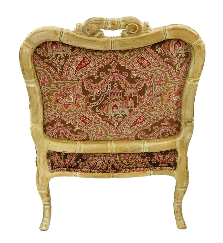 Vintage Carved Wood and Fine Custom Upholstered Fauteuil.